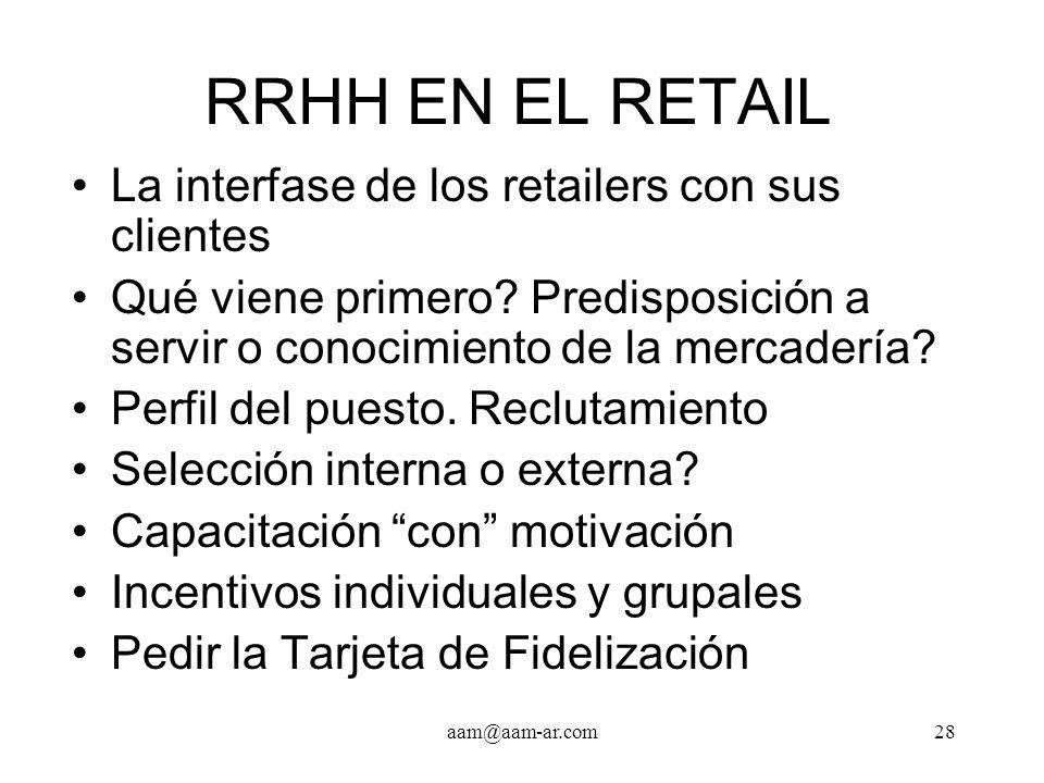 RRHH EN EL RETAIL La interfase de los retailers con sus clientes