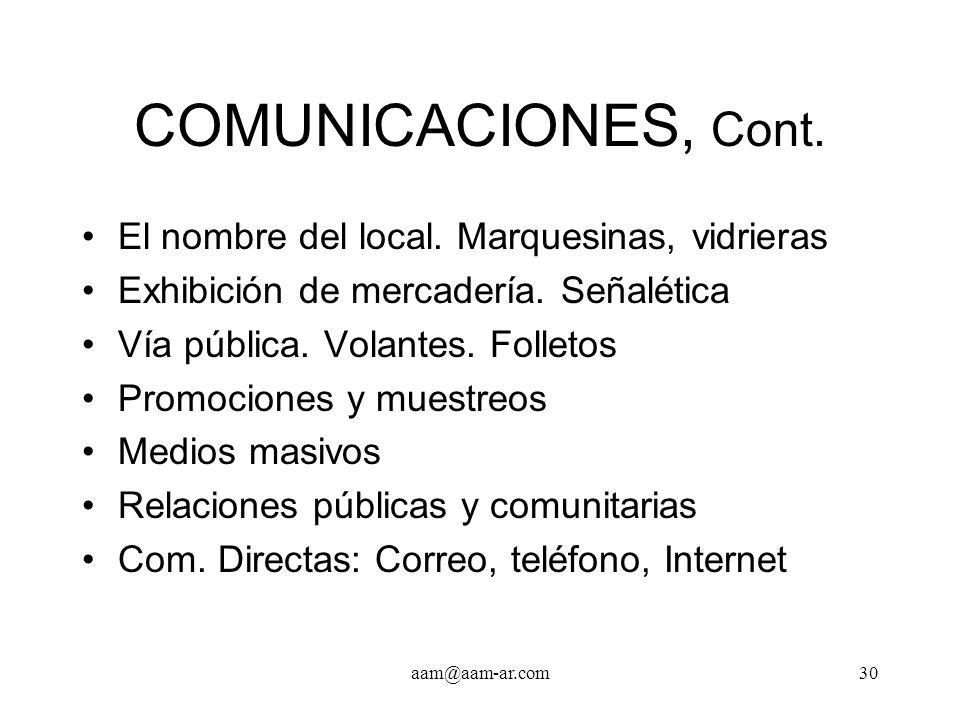 COMUNICACIONES, Cont. El nombre del local. Marquesinas, vidrieras