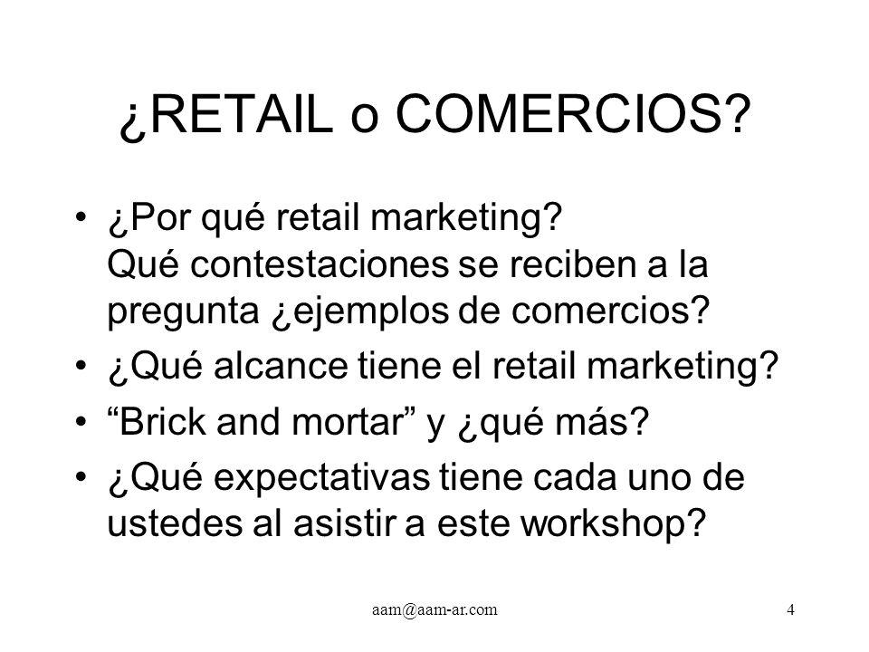 ¿RETAIL o COMERCIOS ¿Por qué retail marketing Qué contestaciones se reciben a la pregunta ¿ejemplos de comercios