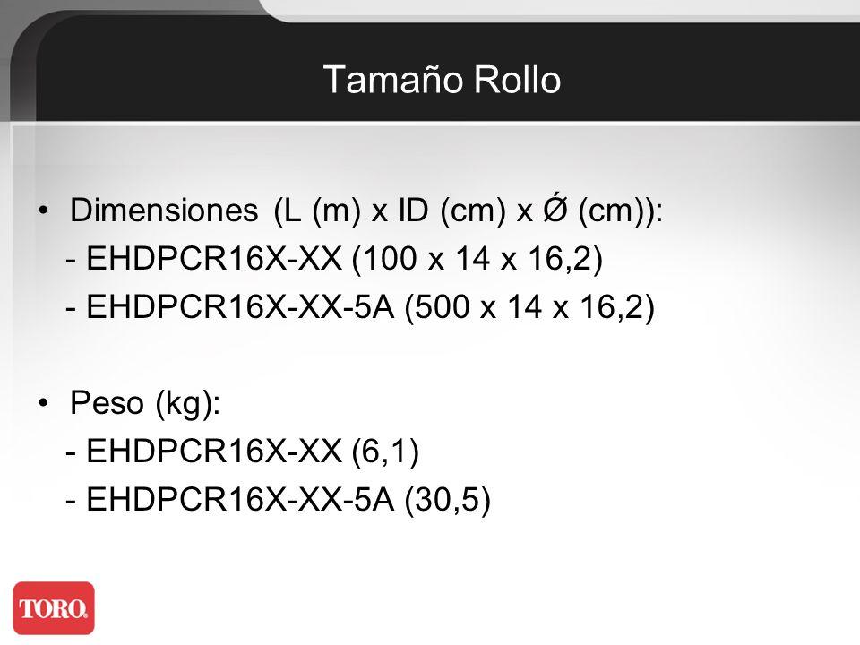 Tamaño Rollo Dimensiones (L (m) x ID (cm) x Ǿ (cm)):