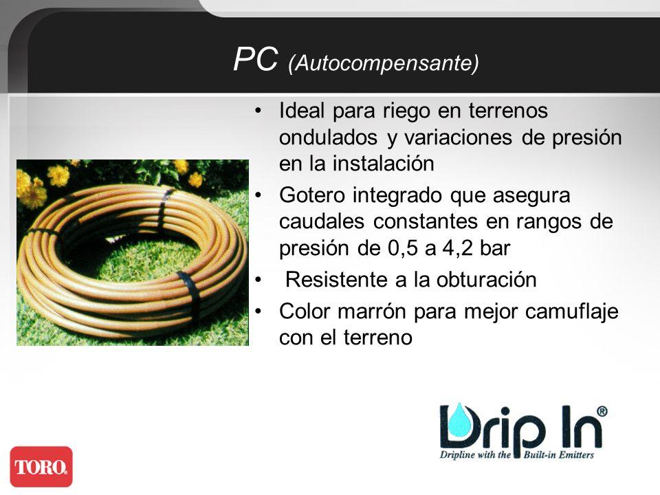 PC (Autocompensante) Ideal para riego en terrenos ondulados y variaciones de presión en la instalación.