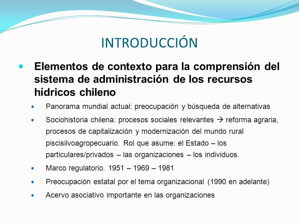 INTRODUCCIÓN Elementos de contexto para la comprensión del sistema de administración de los recursos hídricos chileno.
