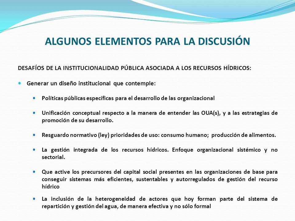 ALGUNOS ELEMENTOS PARA LA DISCUSIÓN