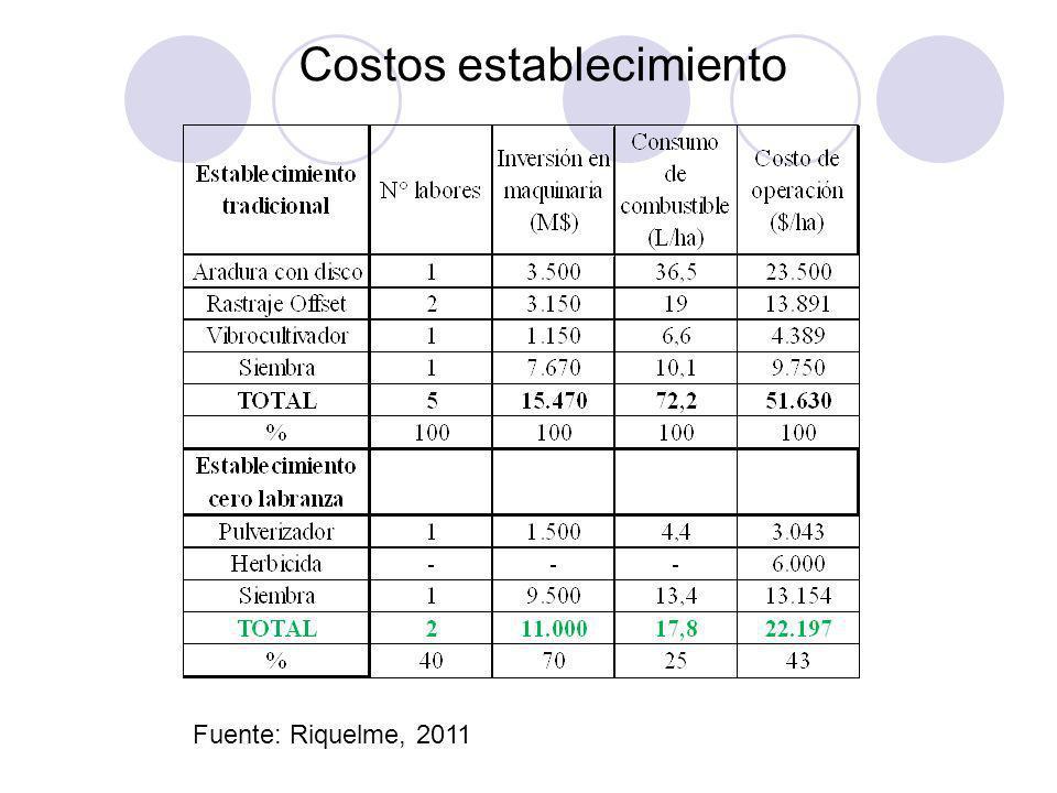 Costos establecimiento