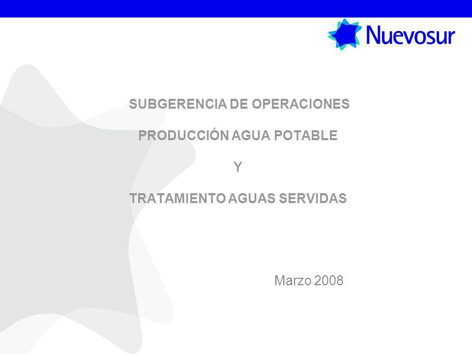 SUBGERENCIA DE OPERACIONES PRODUCCIÓN AGUA POTABLE Y TRATAMIENTO AGUAS SERVIDAS