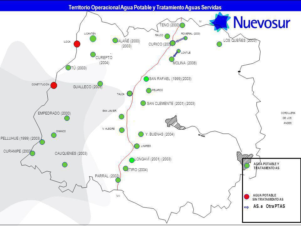 Territorio Operacional Agua Potable y Tratamiento Aguas Servidas
