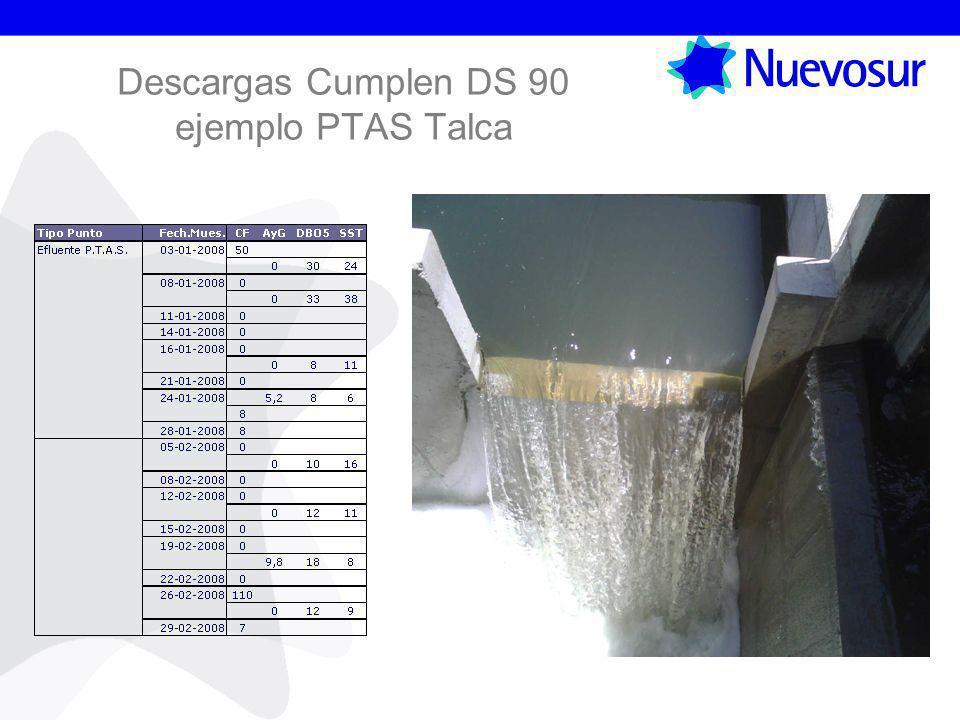 Descargas Cumplen DS 90 ejemplo PTAS Talca