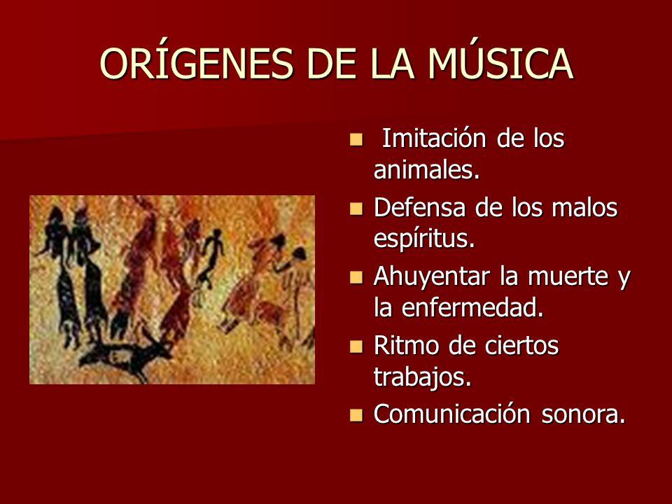 ORÍGENES DE LA MÚSICA Imitación de los animales.