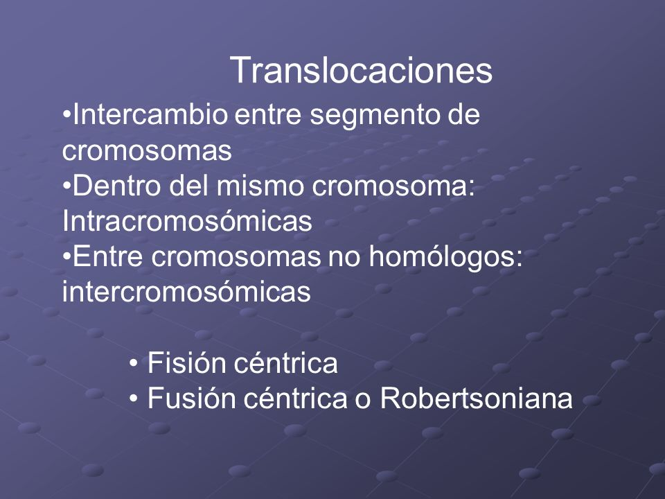 Translocaciones Intercambio entre segmento de cromosomas