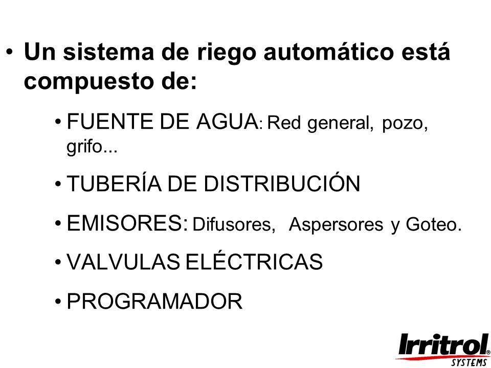 Un sistema de riego automático está compuesto de: