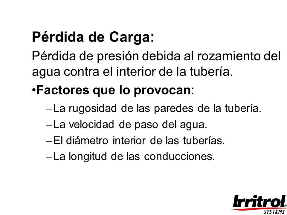 Pérdida de Carga: Pérdida de presión debida al rozamiento del agua contra el interior de la tubería.
