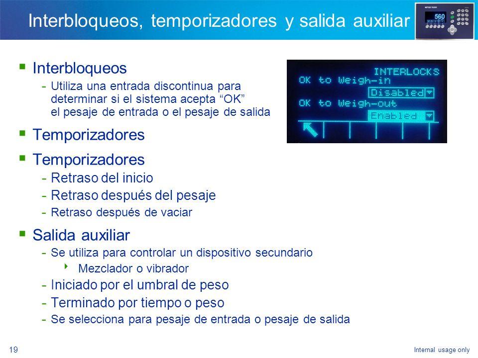 Interbloqueos, temporizadores y salida auxiliar