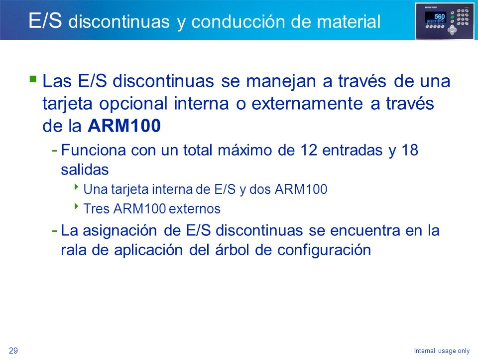 E/S discontinuas y conducción de material