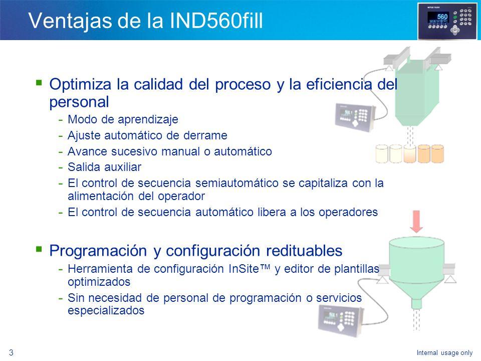 Ventajas de la IND560fill Optimiza la calidad del proceso y la eficiencia del personal. Modo de aprendizaje.