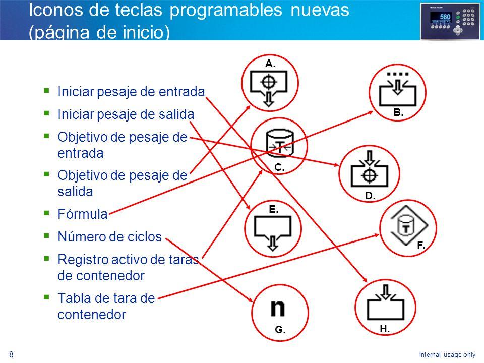 Iconos de teclas programables nuevas (página de inicio)