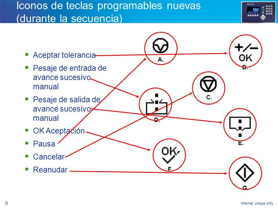 Iconos de teclas programables nuevas (durante la secuencia)