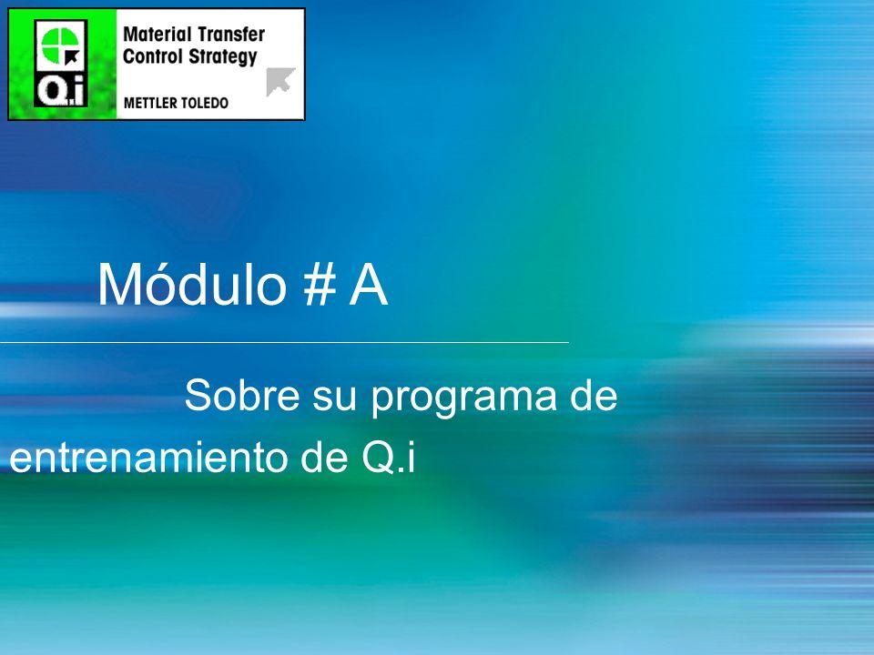 Módulo # A Sobre su programa de entrenamiento de Q.i