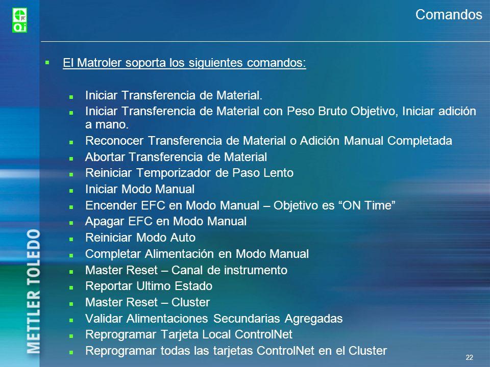 Comandos El Matroler soporta los siguientes comandos: