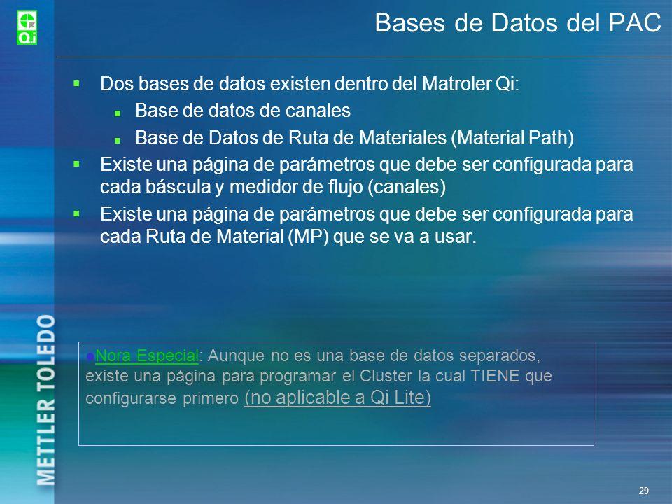 Bases de Datos del PACDos bases de datos existen dentro del Matroler Qi: Base de datos de canales.