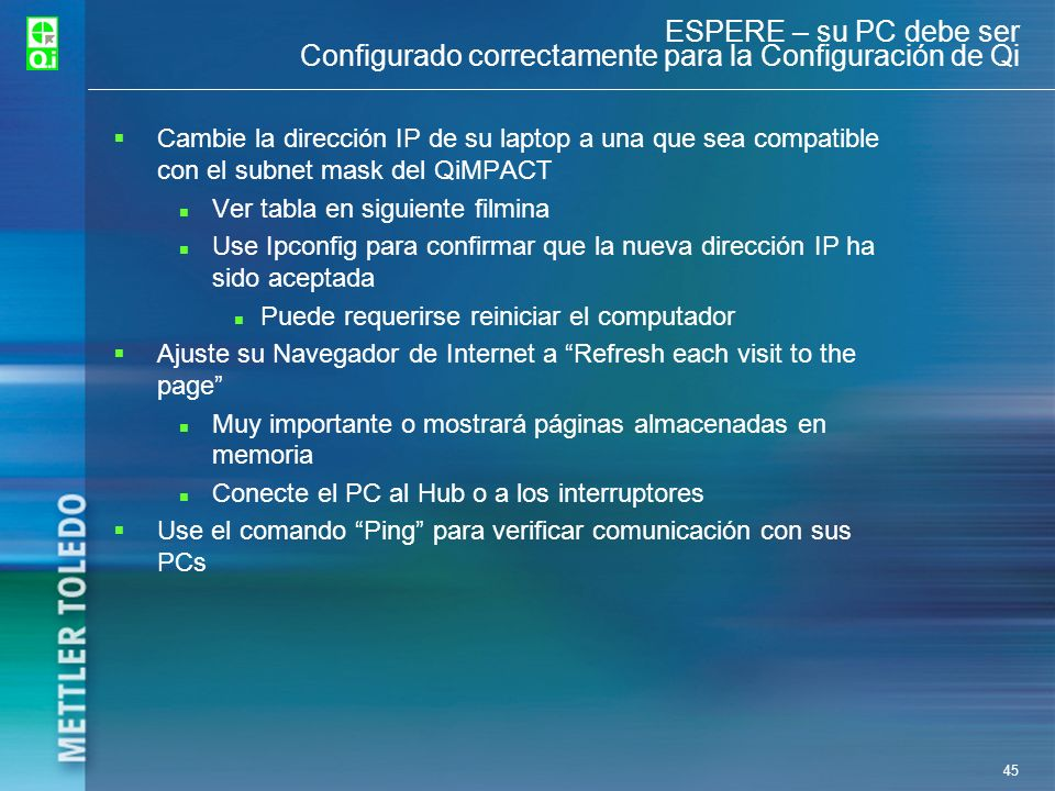 ESPERE – su PC debe ser Configurado correctamente para la Configuración de Qi