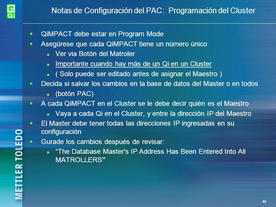 Notas de Configuración del PAC: Programación del Cluster