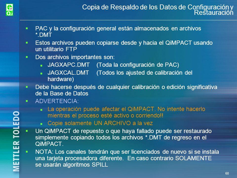Copia de Respaldo de los Datos de Configuración y Restauración