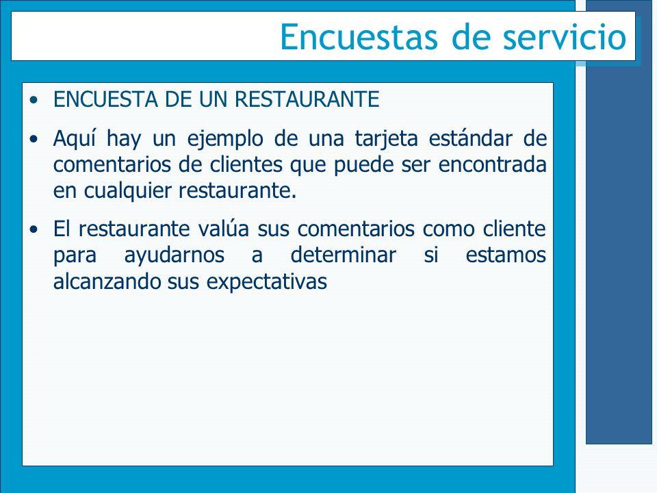Encuestas de servicio ENCUESTA DE UN RESTAURANTE
