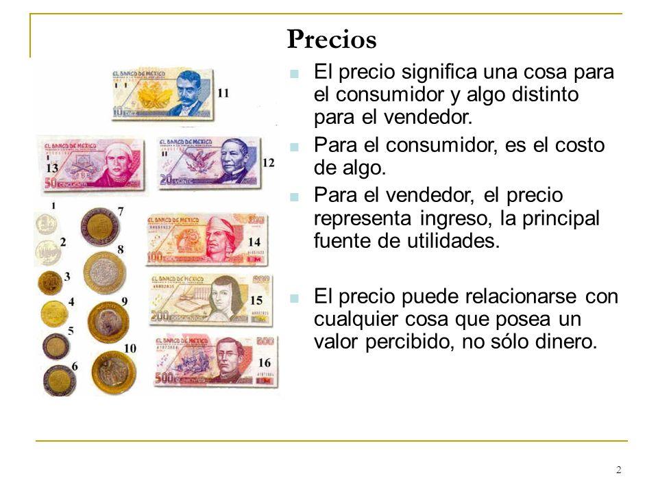 PreciosEl precio significa una cosa para el consumidor y algo distinto para el vendedor. Para el consumidor, es el costo de algo.