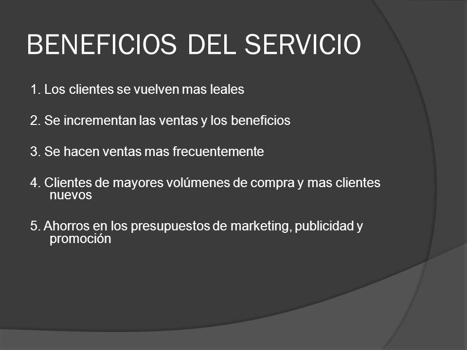 BENEFICIOS DEL SERVICIO