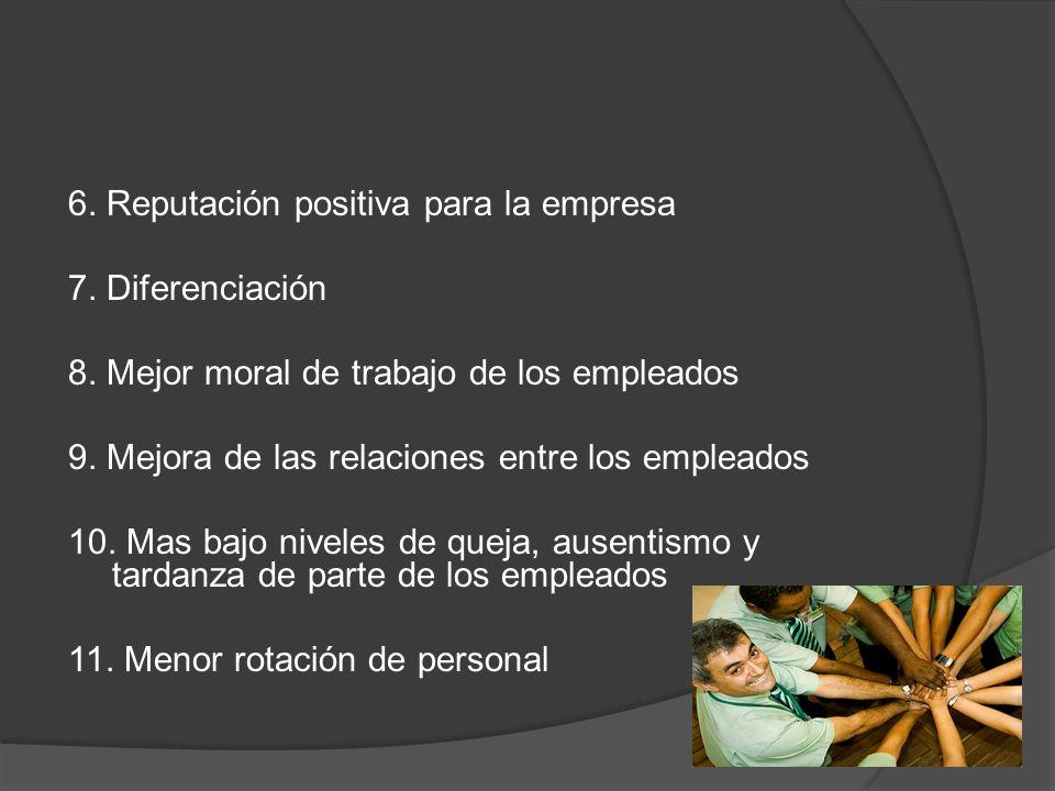 6. Reputación positiva para la empresa 7. Diferenciación 8