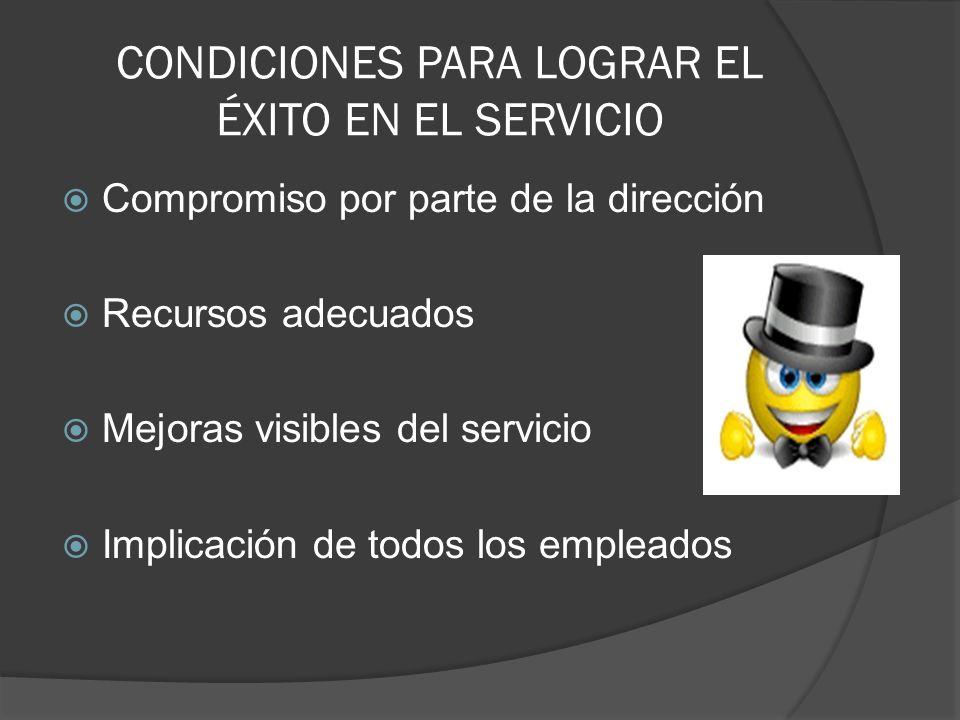 CONDICIONES PARA LOGRAR EL ÉXITO EN EL SERVICIO