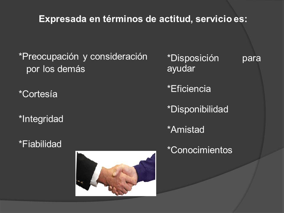 Expresada en términos de actitud, servicio es: