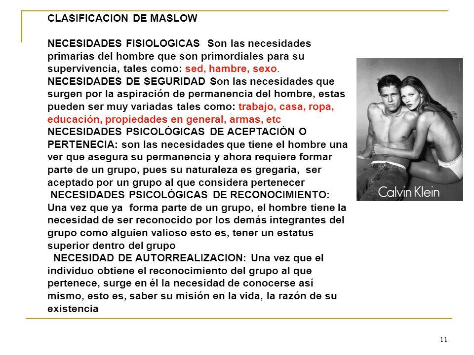 CLASIFICACION DE MASLOW