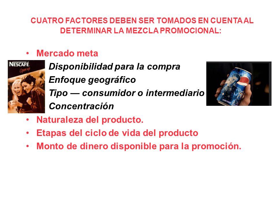 CUATRO FACTORES DEBEN SER TOMADOS EN CUENTA AL DETERMINAR LA MEZCLA PROMOCIONAL: