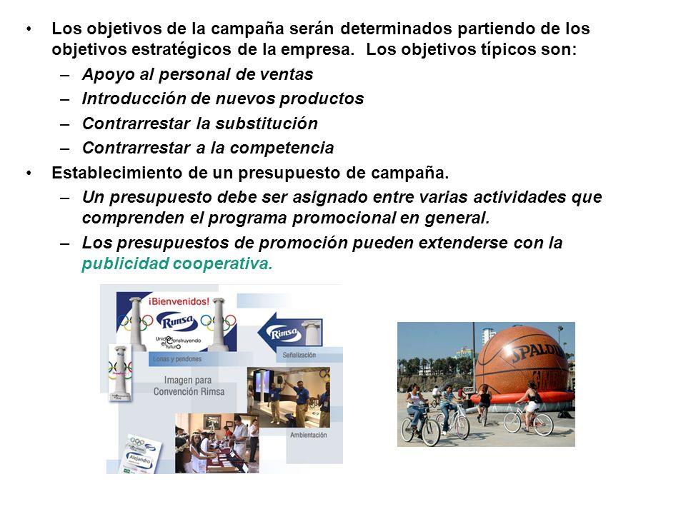Los objetivos de la campaña serán determinados partiendo de los objetivos estratégicos de la empresa. Los objetivos típicos son: