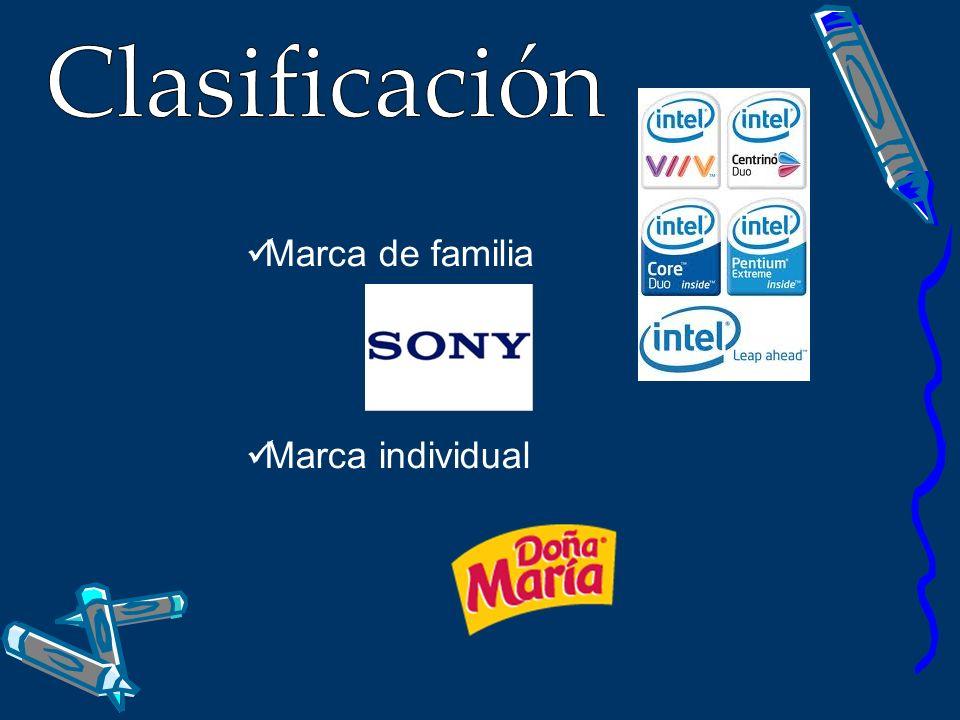 Clasificación Marca de familia Marca individual