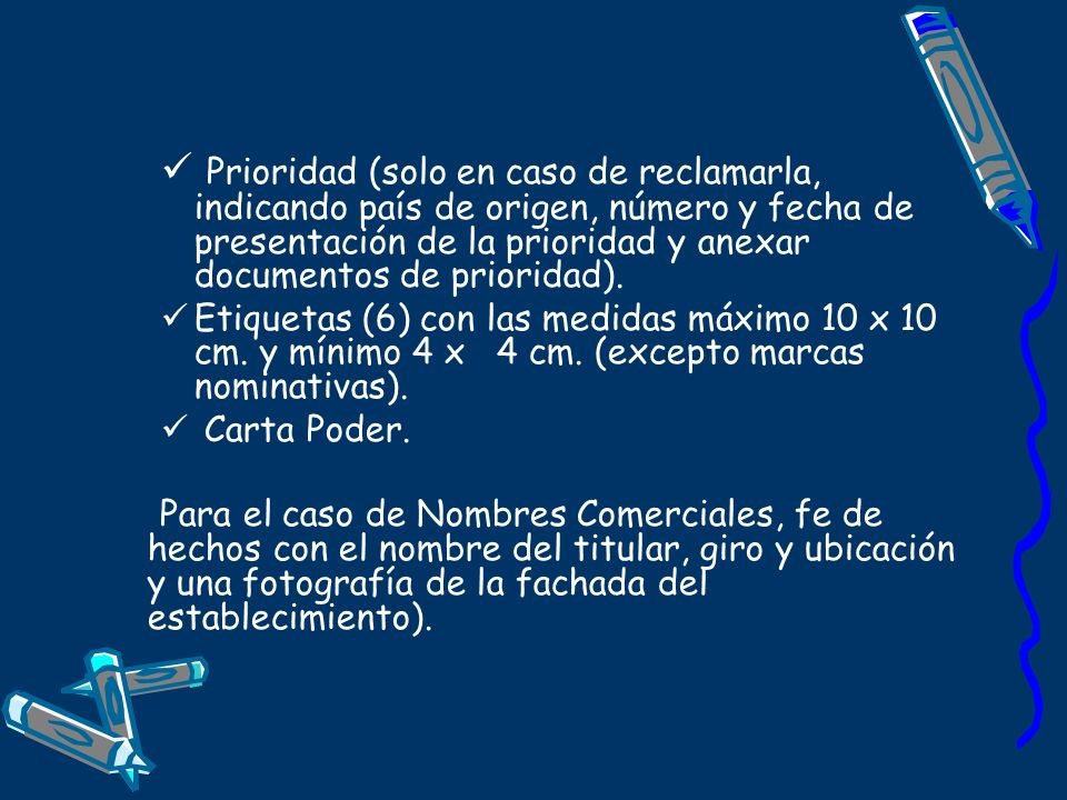 Prioridad (solo en caso de reclamarla, indicando país de origen, número y fecha de presentación de la prioridad y anexar documentos de prioridad).