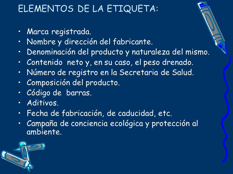 ELEMENTOS DE LA ETIQUETA: