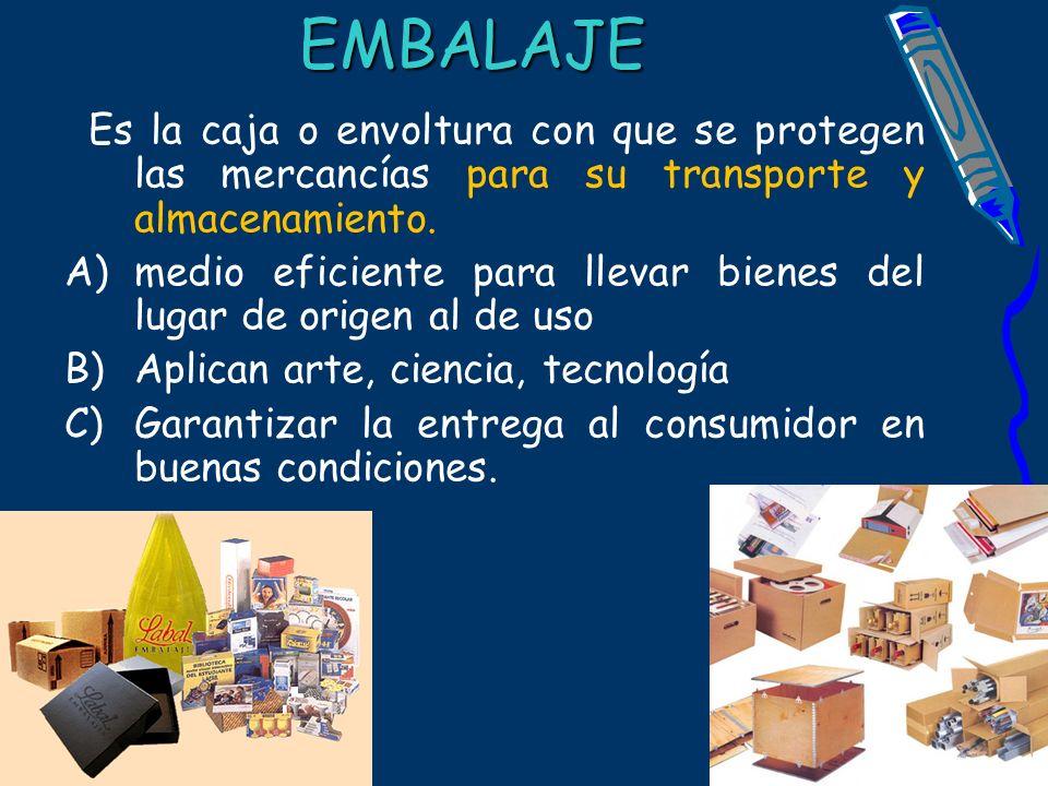 EMBALAJE Es la caja o envoltura con que se protegen las mercancías para su transporte y almacenamiento.