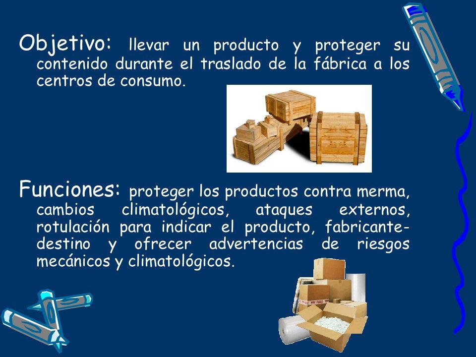 Objetivo: llevar un producto y proteger su contenido durante el traslado de la fábrica a los centros de consumo.