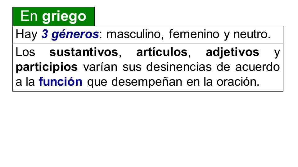 Hay 3 géneros: masculino, femenino y neutro.
