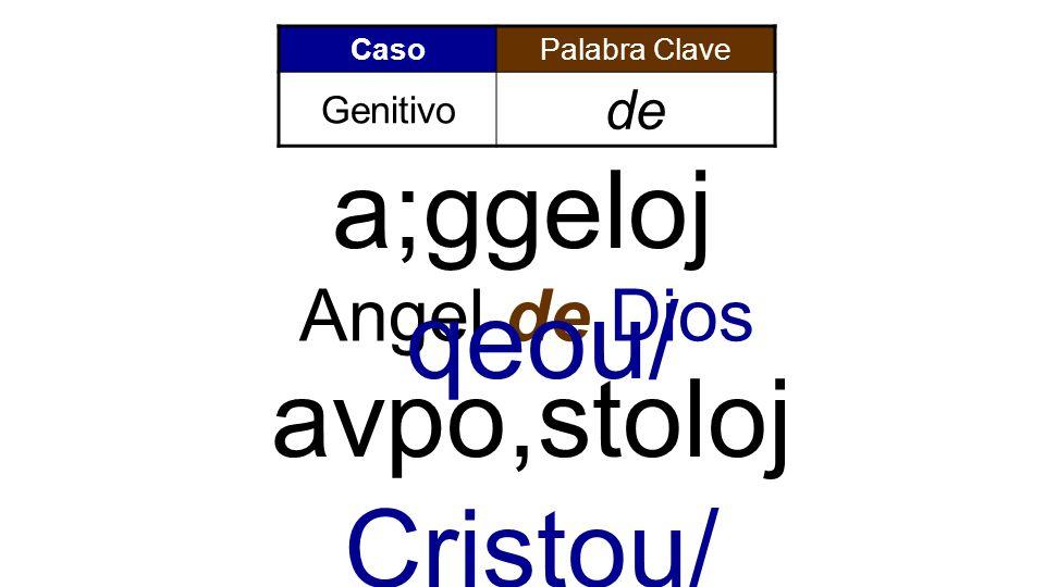 a;ggeloj qeou/ avpo,stoloj Cristou/ Angel de Dios de Genitivo Caso