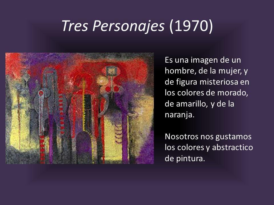 Tres Personajes (1970)Es una imagen de un hombre, de la mujer, y de figura misteriosa en los colores de morado, de amarillo, y de la naranja.