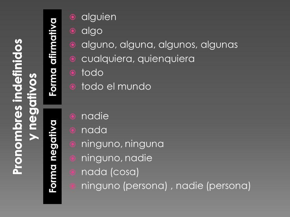 Pronombres indefinidos y negativos