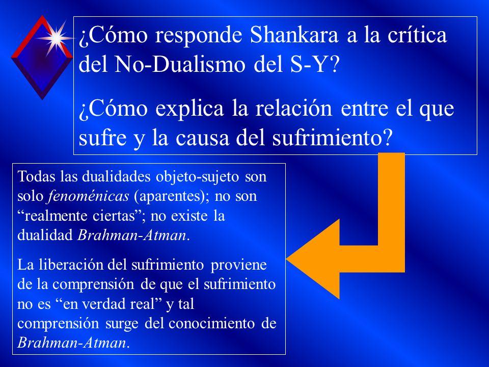 ¿Cómo responde Shankara a la crítica del No-Dualismo del S-Y
