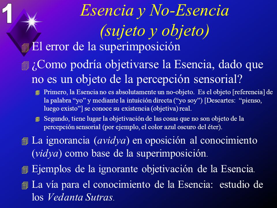 Esencia y No-Esencia (sujeto y objeto)