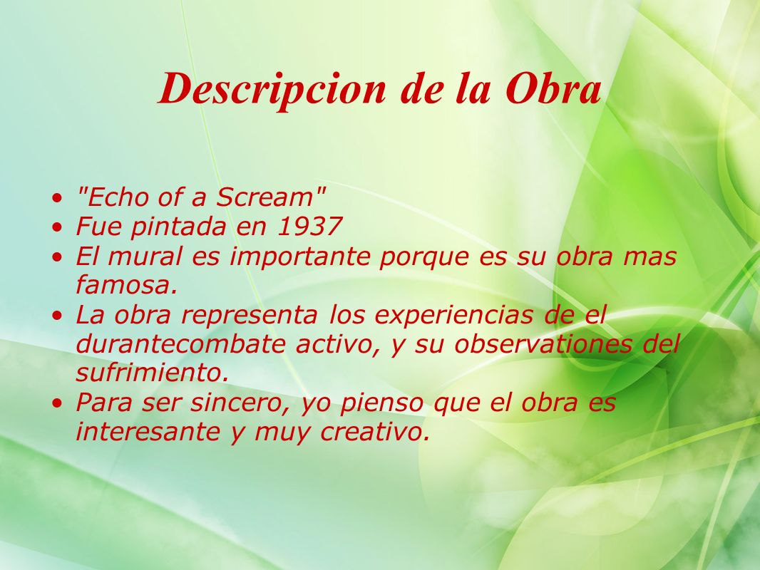 Descripcion de la Obra Echo of a Scream Fue pintada en 1937