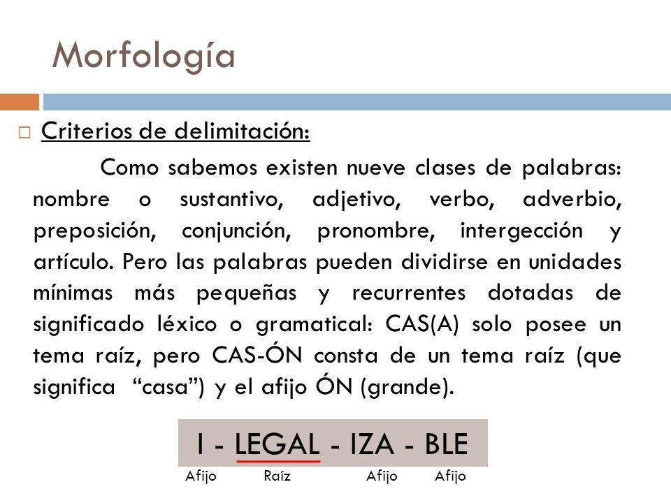 Morfología I - LEGAL - IZA - BLE ILEGALIZABLE