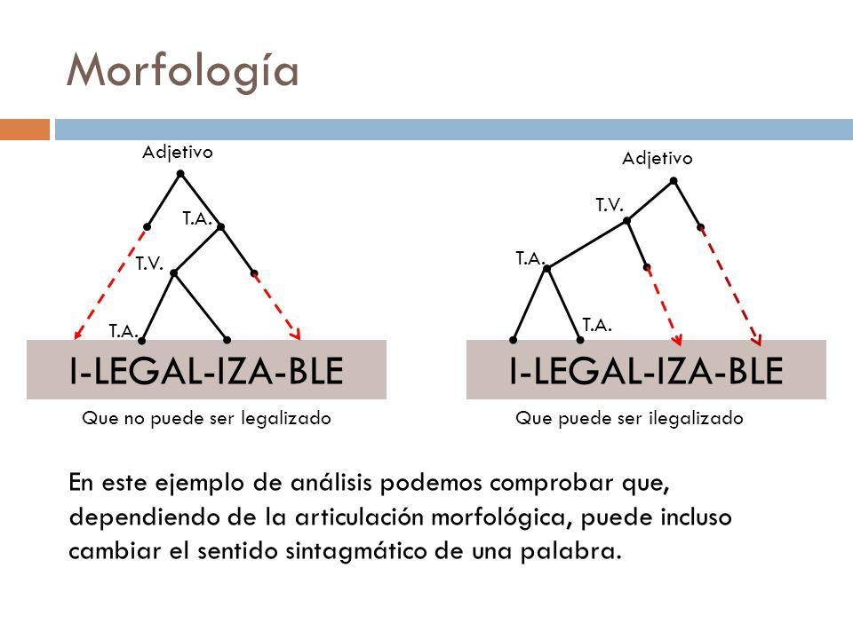Morfología I-LEGAL-IZA-BLE I-LEGAL-IZA-BLE