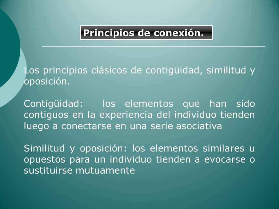 Principios de conexión.